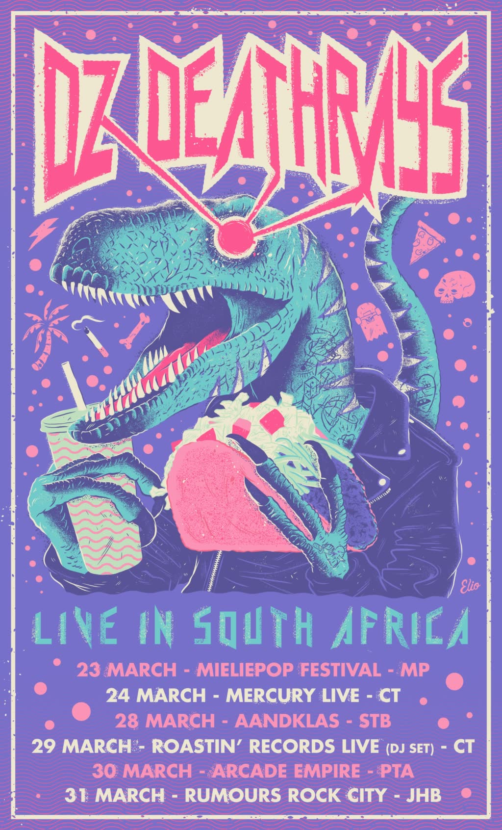 Dz Deathrays South African Tour Poster